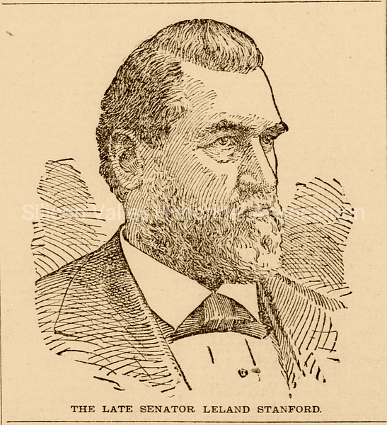 1893 Newspaper clipping of the late Senator Leland Stanford
