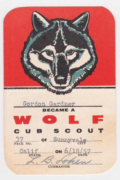 Cub Scout Wolf card for Sunnyvale California resident Gordon Gardner in 1957