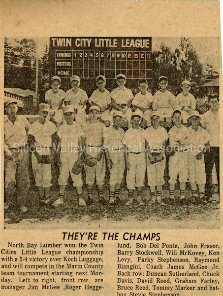 Twin City Little League They're the Champs newspaper article from 1961