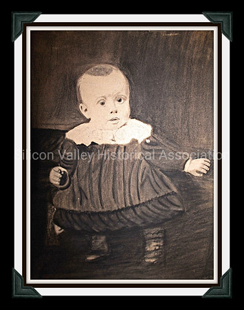 1890 Victorian charcoal drawing of an infant in San Jose, California