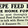 Benepe Feed Barn: A choice home for horses 1907 Palo Alto Advertisement