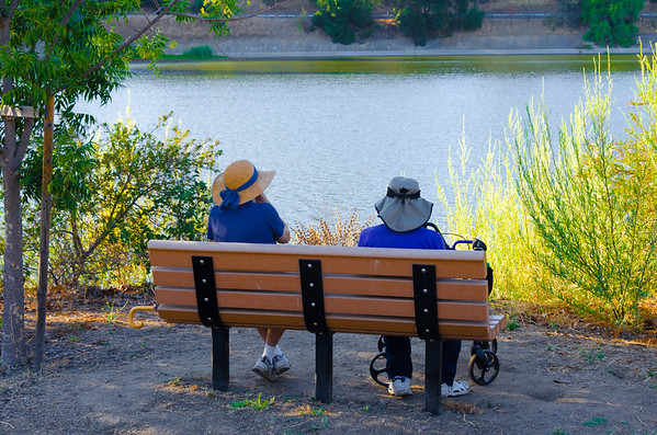 Couple relaxing at Vasona Lake, Los Gatos, California