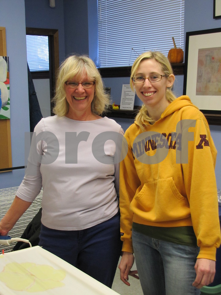 Mary Vollmer and her daughter, Keeley Vollmer attended the silk painting class together.