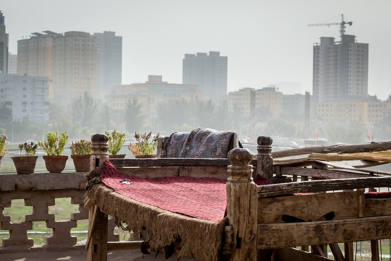 Old Town, Kashgar, China: looking from a home in Old Town to the rapidly growing modern part of Kashgar.