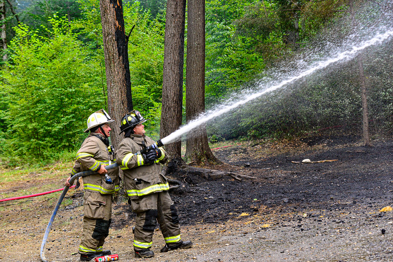 KRISTOPHER RADDER — BRATTLEBORO REFORMER<br /> Several departments respond to a two-alarm fire at 219 Hamilton Road, in Guilford, Vt., on Monday, Sept. 7, 2020.