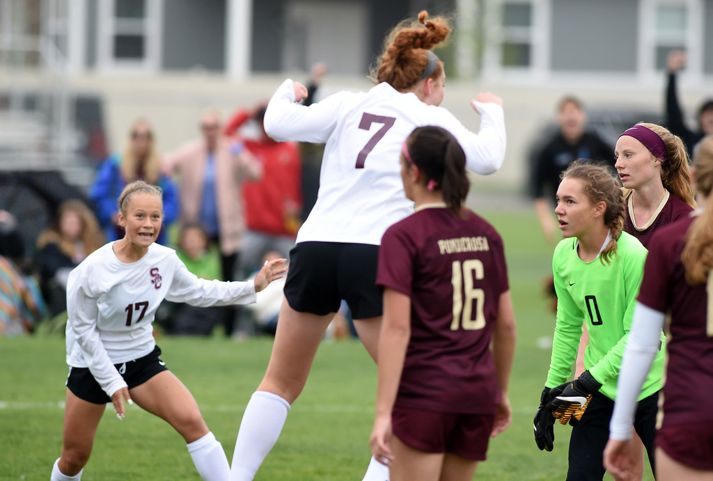 . Colleen Tyrrell (7) of Silver Creek, scores the first goal for the Raptors. Silver Creek beats Ponderosa 2-1 in overtime in Longmont on Saturday. For more photos, go to dailycamera.com.  Cliff Grassmick / Staff Photographer/ May 12, 2018