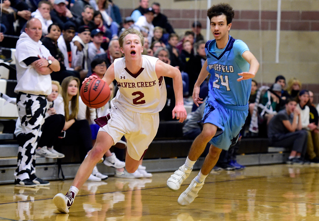 . Silver Creek High School\'s Trent Dykema dribbles past Lucas Lucy during a Sweet 16 playoff game against Widefield on Wednesday in Longmont. Widefield won the game 54-51. More photos: BoCoPreps.com Jeremy Papasso/ Staff Photographer 02/28/2018