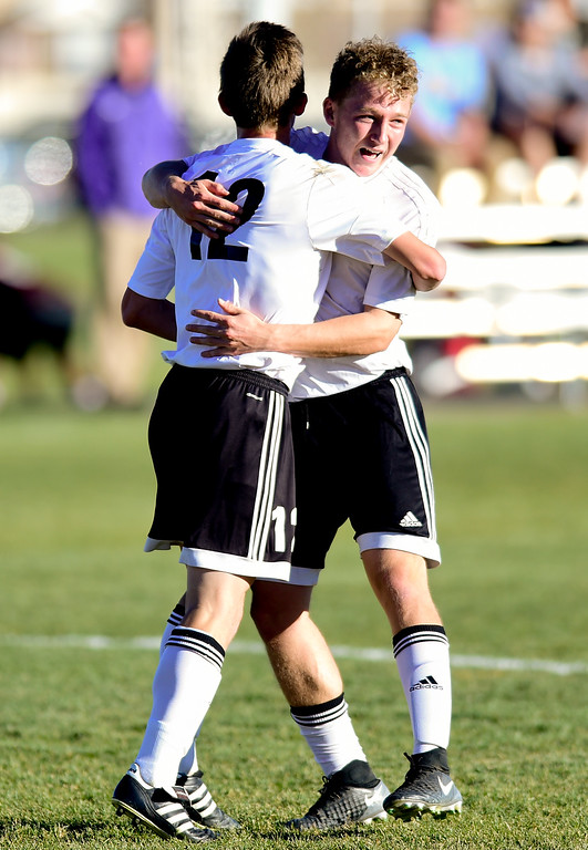 . Silver Creek Jake Levin (No. 9) celebrates his goal with Connor Peskin (No. 12) against Holy Family during the first round of class 4A soccer playoffs in Longmont, Colorado on Oct. 25, 2017.  (Photo by Matthew Jonas/Times-Call)