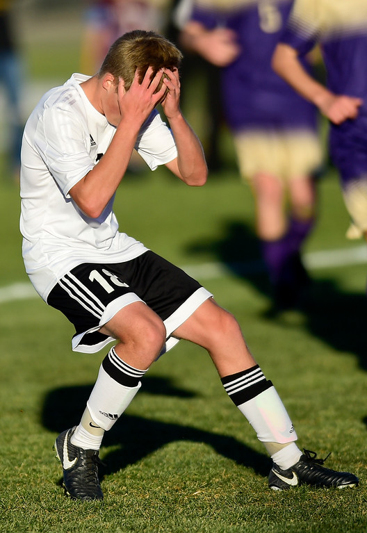 . Silver Creek Trey Gerlach (No. 18) reacts to missing a shot on goal in the game against Holy Family during the first round of class 4A soccer playoffs in Longmont, Colorado on Oct. 25, 2017.  (Photo by Matthew Jonas/Times-Call)