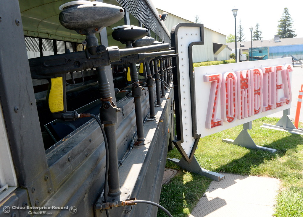 . Weapons of some sort hang out of the windows of the Zombie Bus as things get underway at the Silver Dollar Fairgrounds in Chico, Calif. Tues. May 22, 2018.  (Bill Husa -- Photos)