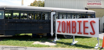 Weapons of some sort hang out of the windows of the Zombie Bus as things get underway at the Silver Dollar Fairgrounds in Chico, Calif. Tues. May 22, 2018.  (Bill Husa -- Photos)