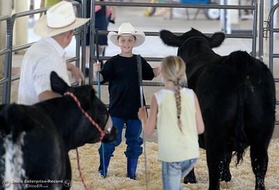 Granpa Dennis Helberg of Corning shares a few showing pointers with his grandson 10-year-old Orion Helberg and 11-year-old Haylie Jewett as the youngsters get their steers ready for show at the Silver Dollar Fairgrounds in Chico, Calif. Tues. May 22, 2018.  (Bill Husa -- Photos)