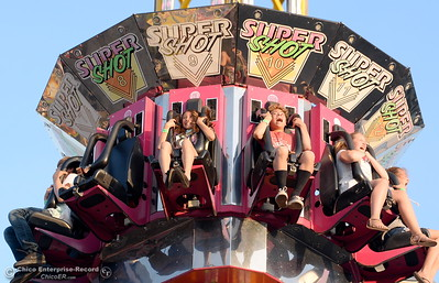 Screams are common around the Super Shot ride at the Silver Dollar Fair in Chico, Calif. Friday May 27, 2016. (Bill Husa -- Enterprise-Record)