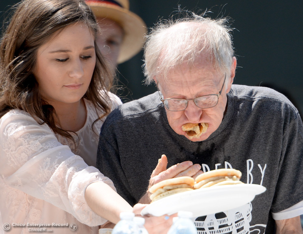 . during the Major League Eating World Championship Pancake Eating Contest at the Silver Dollar Fair in Chico, Calif. Saturday May 28, 2016.  (Bill Husa -- Enterprise-Record)