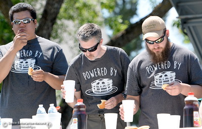 during the Major League Eating World Championship Pancake Eating Contest at the Silver Dollar Fair in Chico, Calif. Saturday May 28, 2016.  (Bill Husa -- Enterprise-Record)