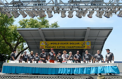 Champion eaters compete with local talent during the Major League Eating World Championship Pancake Eating Contest at the Silver Dollar Fair in Chico, Calif. Saturday May 28, 2016.  (Bill Husa -- Enterprise-Record)