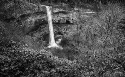 South Falls, Silver Falls State Park, Oregon b&w