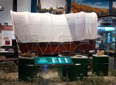 Irene Cook - Conastoga wagon in the museum