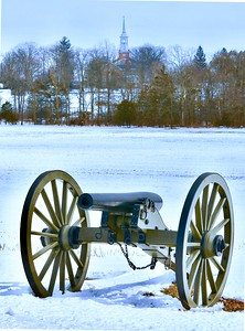 Civil War cannon below the Lutheran Seminary Steeple