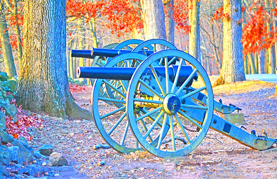 Civil War Cannons at Gettysburg stand at the Ready