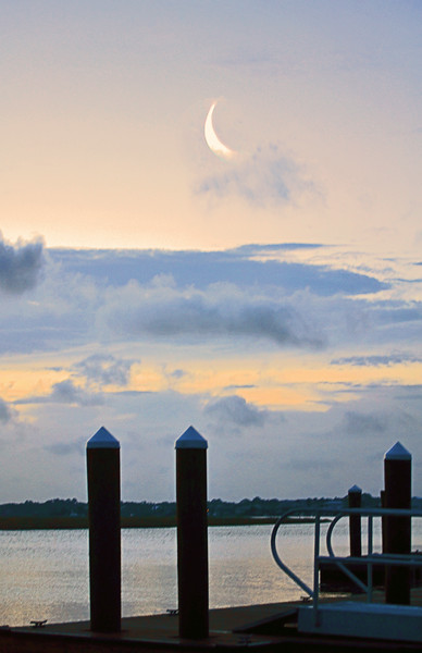 Crescent Moon over Dock