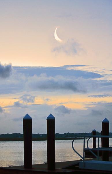 Crescent Moon over Dock