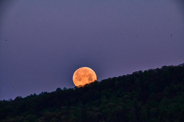 May 2020 supermoon - beginning to set