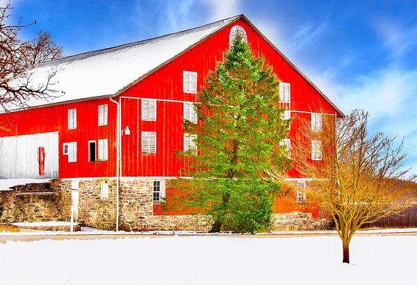 Red Barn on Winter Day