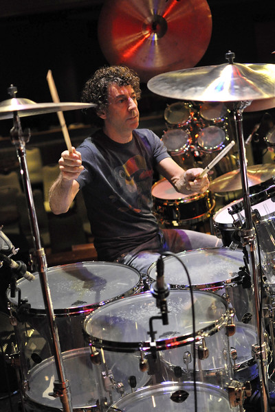 SAN FRANCISCO, CA-JUNE 5: Simon Phillips performs with Hiromi at Yoshi's in San Francisco, CA on June 5, 2011. (Photo by Clayton Call/Redferns)q