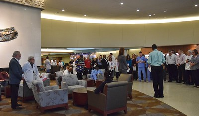 Hospital officials say a blessing before the opening of the new Simulation Center at St. Joseph Mercy Oakland in Pontiac on Sept. 29, 2016.