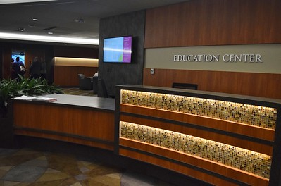 The front desk of the Education Center at St. Joseph Mercy Oakland in Pontiac on Sept. 29, 2016.