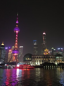 Pearl Tower and Shanghai skyline at night