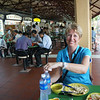 Lynne is enjoying Chicken Rice from Tian Tian at the Maxwell Food Market.