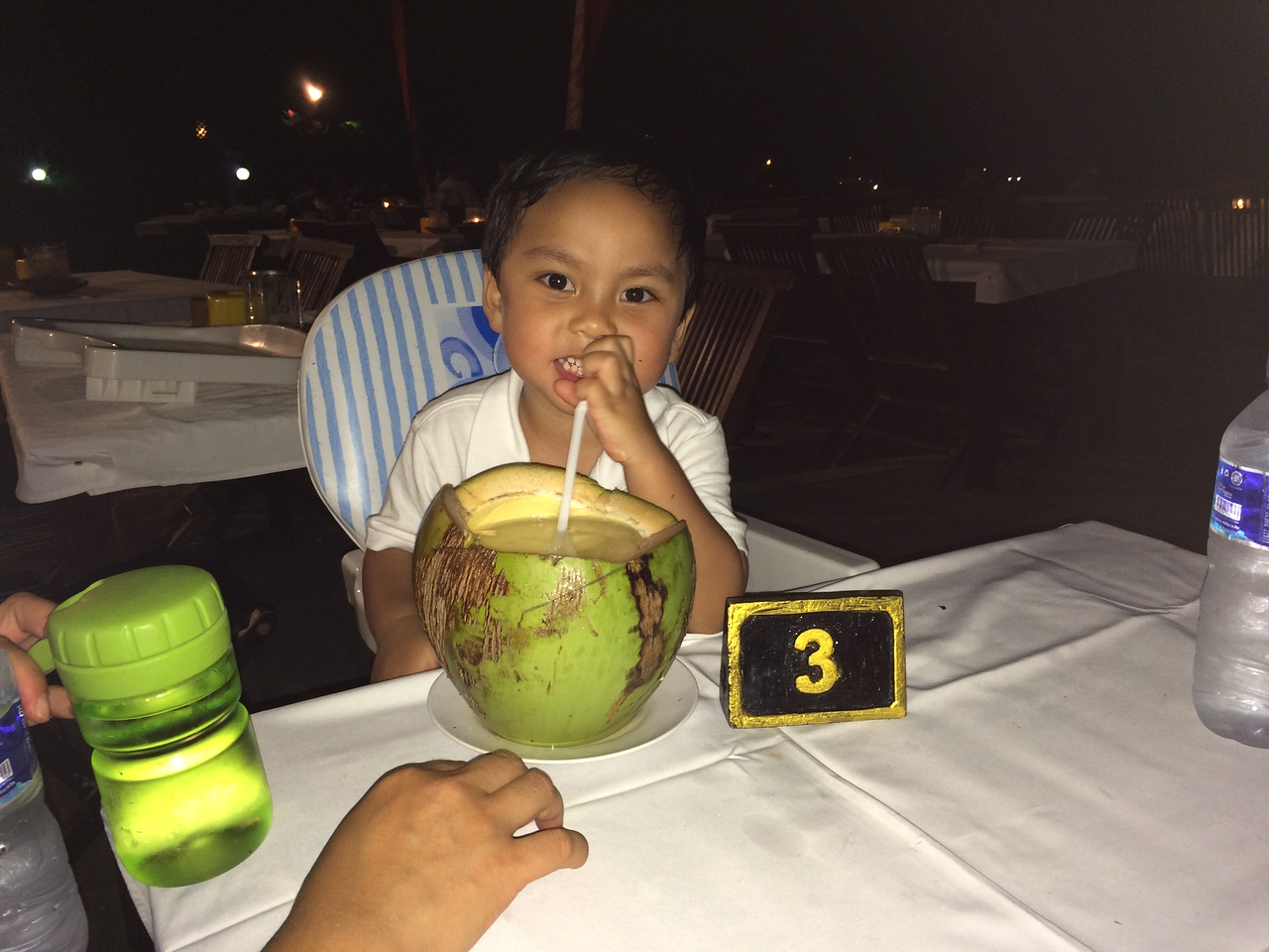 We happen to get table #3 on his third birthday! Yum fresh young coconut water.