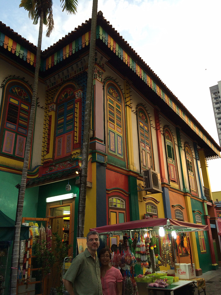 Colorful building and flower stand in Little India.