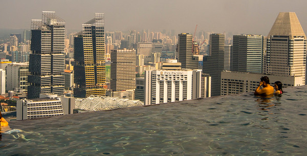 Singapore city from the Hotel roof top pool.