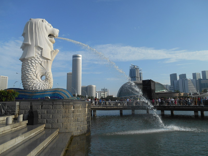 Singapore harbor, with the iconic merlion
