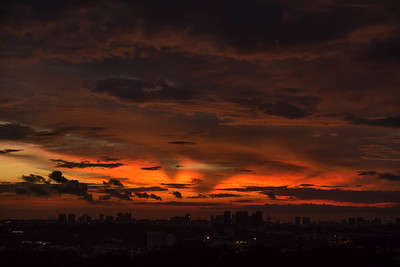 Sunset over Singapore skyline