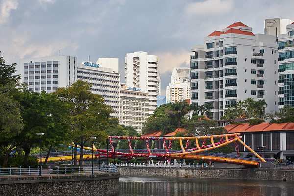 Alkaff Bridge on the Singapore River in downtown Singapore