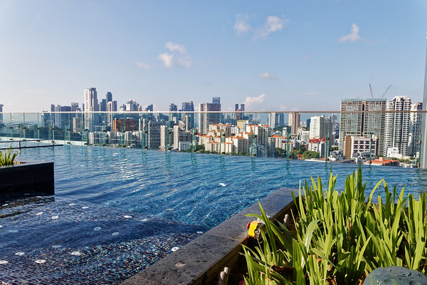 Singapore skyline from a hotel infinity pool