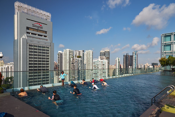 Hotel pool workout in Singapore