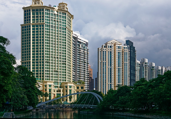 Hotels and aparments lining the Singapore River in downtown Singapore