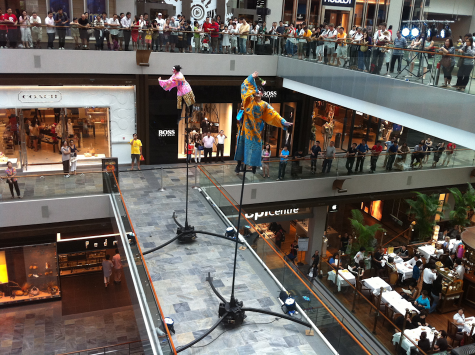 Aerial dancers perform inside The Shoppes at Marina Bay Sands - The Shoppes