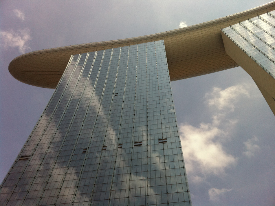Clouds reflected in the glass of Marine Bay Sands Hotel  Singapore