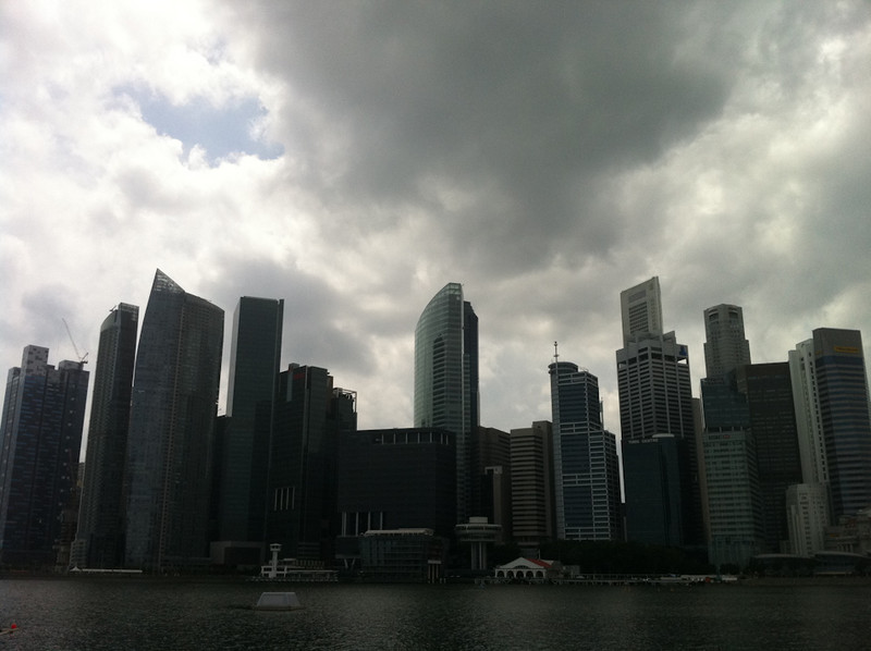 The view across the water from the plaza outside The Shoppes at Marina Bay Sands