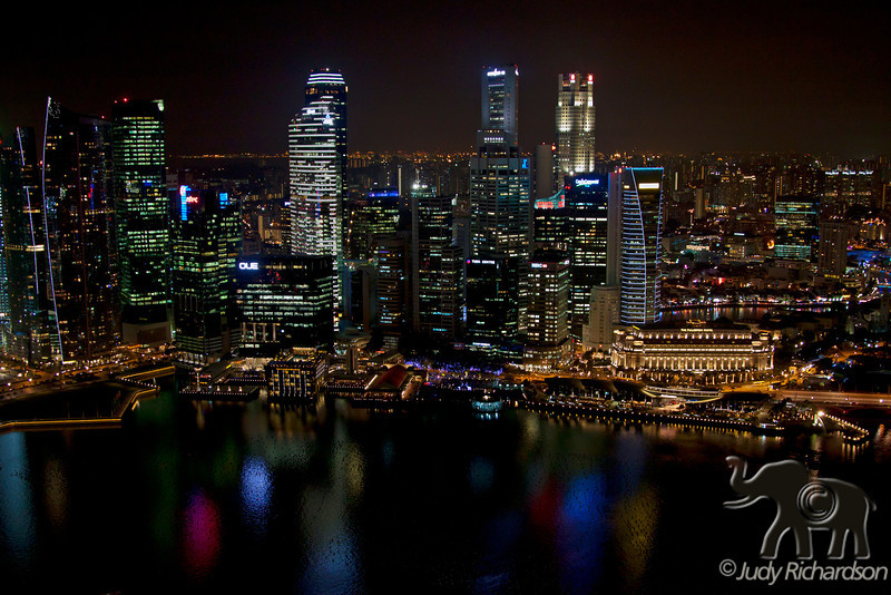 View of Singapore from on top of the Marina Bay Sands Hotel after the show.