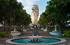 The Merlion and fountain on Sentosa Island in Singapore, East Asia.