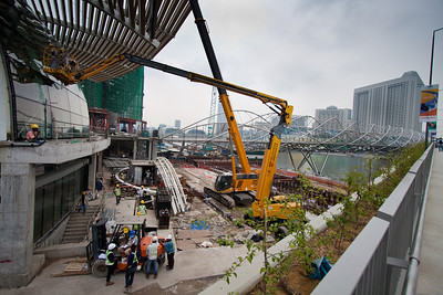 Marina Bay Sands resort being constructed at a frenetic pace.