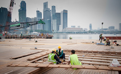 Construction workers at Marina Bay Sands