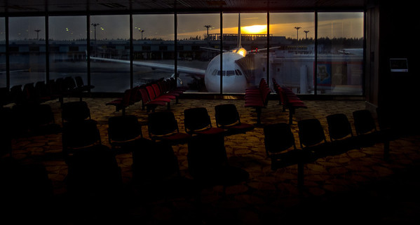 Sunrise at Changi Airport Terminal Two. Dec 2011